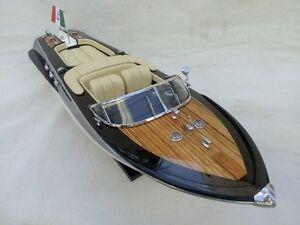 "New Riva Aquarama 21"" Cream Seat Quality Wood Model Boat L50 Christmas Gift"