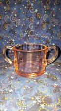 Pressed Pink Glass Open Sugar Bowl