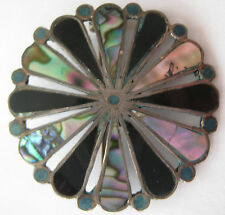 """STERLING SILVER PENDANT PIN FLOWER 1 3/4"""" ONYX MOTHER OF PEARL TURQUOISE MEXICO"""
