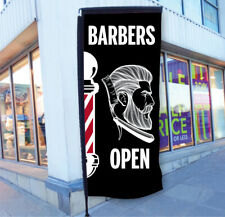 BARBERS POLE FLAG BARBER SHOP SIGN APPROX 1700mm x 700mm