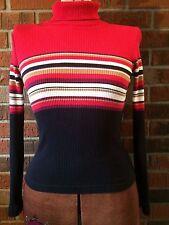 Women's Red Black Stripe Form Fit Sweater Blouse Ladies Wear Fashion Winter Fall