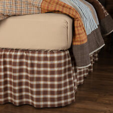 """Vhc Rustic Bed Skirt Dust Ruffle Brown Cotton King Queen Twin 16"""" Drop"""