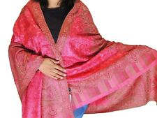 Pink Brown Wool Embroidered Shawl Kashmir Evening Dress Wrap Winter Scarf 80""