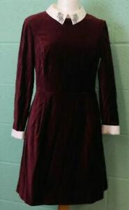Ted Baker Cheryll Burgundy Maroon Velvet Embellished Collar Dress Size 5 Uk 16