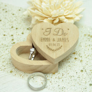 Personalised 'I Do' Rustic Engraved Wooden Heart Wedding Ring Box