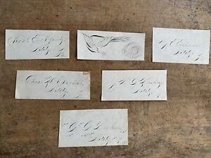 Six Antique Penmanship Signature Hand Written Samples Lititz Pa Folk Art AAFA