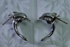 US Seller Sterling Silver Rare 2 Part Dolphin Stud Earrings Pair 925 Cute