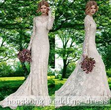 White/Ivory Lace A-Line Bohemian Long Sleeve Bridal Wedding Dress Custom Size
