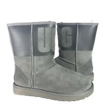 UGG CLASSIC SHORT UGG RUBBER SUEDE/ SHEEPWOOL BOOTS, WOMEN US 7