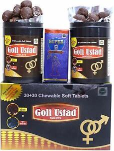 Ayurvedic Goli Ustad 30+30 Chewable Tablets + 15ml Super 9 Massage Oil for Men