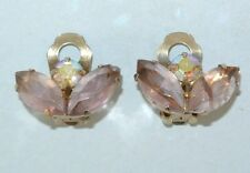 "Vintage Faux Amethyst & Rhinestone Flower clip on 1"" Earrings"