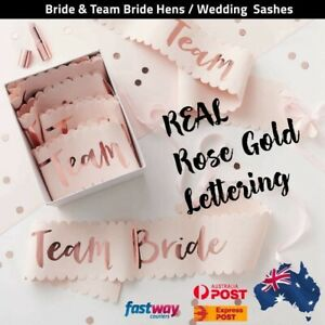 Blush Rose Gold Team Bride Hens Party Sash Sashes Night Bachelorette Bridal AUS