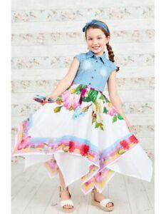 Girls KidS Party Beautiful Denim Top Bouquet Print Girls Hanky Dre Summer Dress