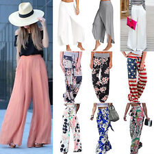 Women Palazzo Trousers Loose Wide Leg High Waist Summer Beach Long Pants Bottoms