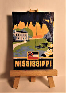 Mississippi State Poster ACEO Original PAINTING by Ray Dicken