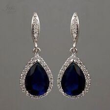 White Gold P Sapphire  Zirconia CZ Wedding Bridesmaids Drop Dangle Earrings 0573