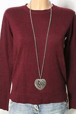 HALLHUBER Pullover Gr. XS/36 wein-rot Strick Pullover mit Wolle, Seide +Kaschmir