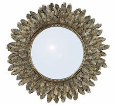 Beautiful Distressed Gold Leaf Sunburst Wall Mirror 41cm Unique Art Deco