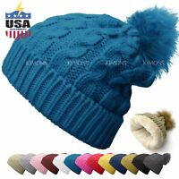 CH Fur Pom Pom Knit Slouchy Baggy Beanie Lined Winter Hat Ski Cap Solid Women