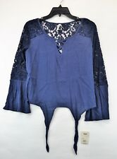 MUDD NWT Juniors Indigo Cross Front Lace Long Sleeve Shirt Blouse Size M  (C6)