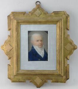 99863122 Pastell Biedermeierliches Porträt eines Herren 19.Jh Goldstuck