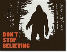Believing Sasquatch Metal Tin Sign Bigfoot Warning Funny Picture Cabin Bar Cave