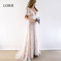 Boho Wedding Dress 2019 V Neck Cap Sleeve Lace Beach Wedding Gown