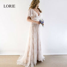 Boho Wedding Dress 2019 V Neck Cap Sleeve Lace Beach Wedding Gown