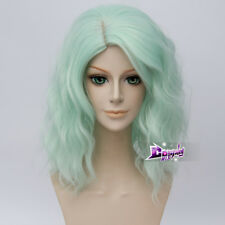 40cm Mint Green Lolita Curly Women Party Hair Cosplay Wig Heat Resistant+ Cap