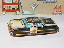 Vintage Japan Tin Litho Friction Police Black Car War Toy Works