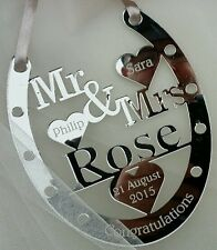 WEDDING DAY GOOD LUCK HORSE SHOE , WEDDING GIFT , PERSONALISED PRESENT