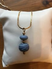 WEDGWOOD BLUE SWIRL NECKLACE MADE IN ENGLND JASPER GOLD PLATED CHAIN