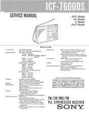 SONY ICF-7600DS SERVICE MANUAL ON A CD