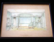 CGT FRENCH LINE SS FRANCE I Watercolor Interior 2 1912