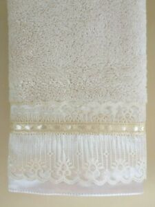 LACE Hand Towel (1) Ivory Terry Cotton Venice Lace Satin fabric trim NEW UtaLace