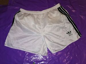 "Men's Adidas Sports Shorts Vtg Glanz nylon football gym fitness D7 L 36"" White 3"