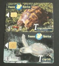 SPAIN CABITEL 2 PHONECARDS WITH THEMA: TURTLE, TORTUGA MEDITERRANEA & BOBA !!!!!