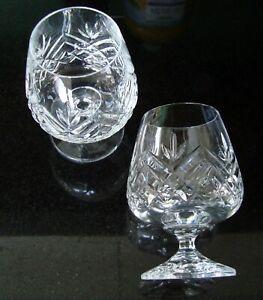 Brandy Glasses Pair Cut Glass Lead Crystal
