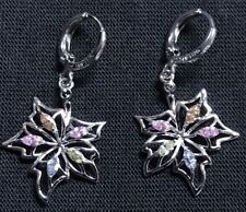 Stunning Silver Tone Multi Colour Crystal Set Leaf Drop Dangle Earrings