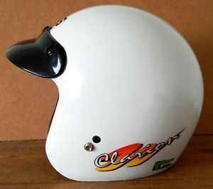 Vintage MDS Motorcycle Motorbike Classic Open Face Helmet AGV Size S White