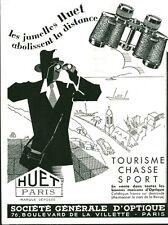 Publicité ancienne jumelles Huet Paris 1933