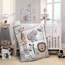Crib Bedding Set Boy Girl Baby Jungle Safari Animal Gray White Tan Nursery 6 New