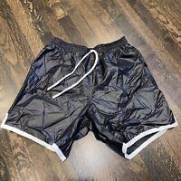 NOS Vtg 80s BLACK Athletic Shorts STRIPED Glanz Nylon wet look Shiny New MENS XL