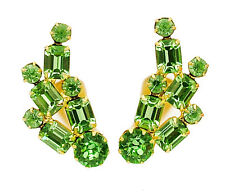Vintage Rhinestone Earrings With Peridot Green Baguettes Ear Climber Style