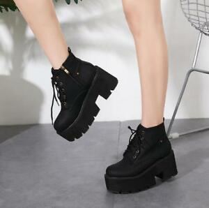 Women Block Heel Platform Ankle Boots Round Toe Platform Lace Up Booties Fashion