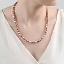 Stunning 18K Rose Gold Filled Women's 8MM Solid Ball Beads Charm Necklace 20""