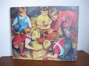 """alter DDR Kunstdruck Erika Klier """"Spielende Kinder"""" 60er Jahre Vintage Gemälde 2"""