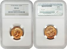 India 1918-I Sovereign Gold Coin NGC MS-64