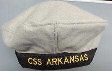 "CIVIL WAR CSN ENLISTED NAVY CSS ARKANSAS SAILOR HAT SIZE LARGE "" FLAT HAT """