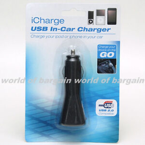 iCharge Universal USB IN CAR CHARGER iPod iPhone Cellphone Cigarette Lighter E41